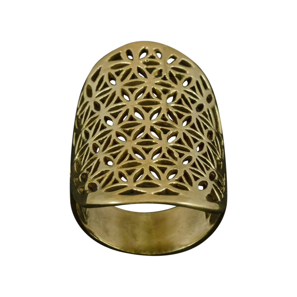 Brass Ring Intricate Flower Of Life Enlightenment Affordable Gorgeous Boho Trendy