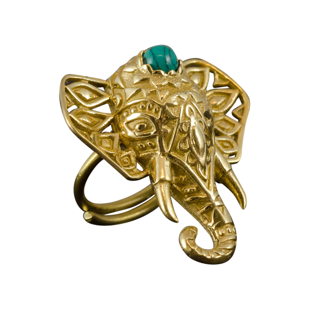 Adjustable brass ring, semi-precious stone ring, elephant head ring, brass jewelry, yoga collection