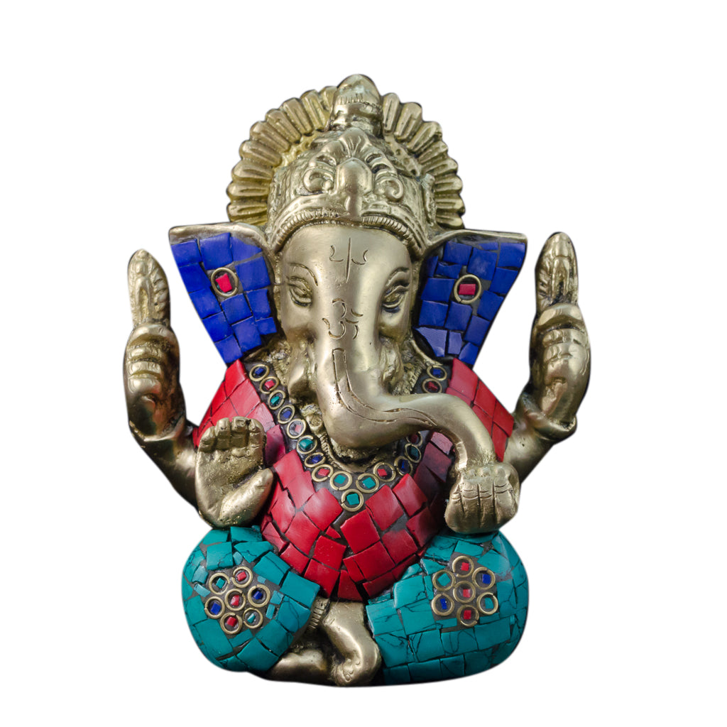 Brass Ganesh With Stones Small Statue