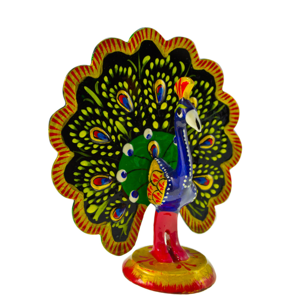 Colorful Peacock Enamel Adorable Pretty Small Statue