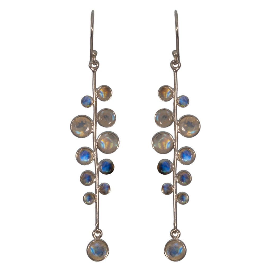 Silver Earring Rainbow Moonstone Stone Cute Elegant Bubbles