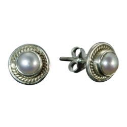 Silver Post Earring Pearl Cute Delicate Soft Style Trendy Affordable