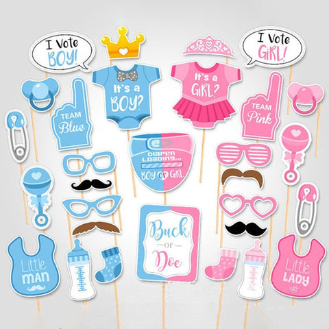 Baby Shower Photo Booth & Games Decoration Set - 25Pcs - NoveltyBox