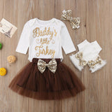 Baby Girl Infant Thanksgiving Outfits - DADDY'S LITTLE TURKEY