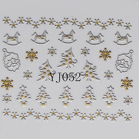 Silver and Gold Christmas Ornaments 3D Nail Stickers