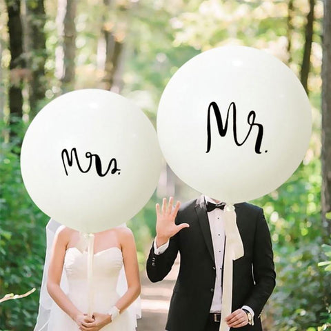 Wedding White Mr&Mrs Latex Balloons 36inch - 1pcs