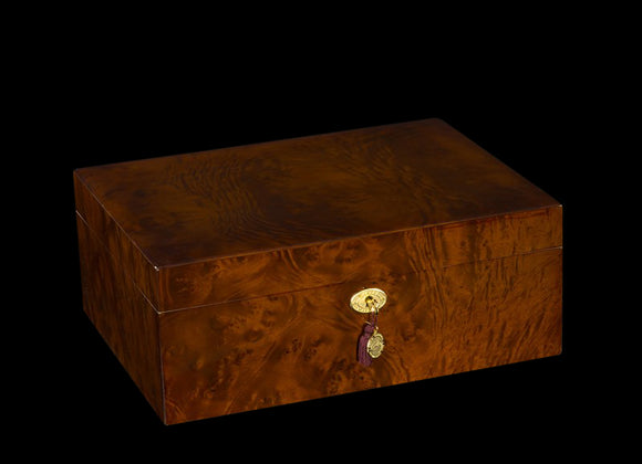 AUTOGRAPHED DANIEL MARSHALL LIMITED EDITION 165 HUMIDOR IN BURL WITH LIFT OUT TRAY