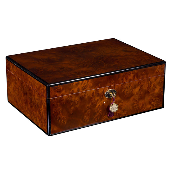 DANIEL MARSHALL 125 HUMIDOR BURL WITH LIFT OUT TRAY INSTALLED