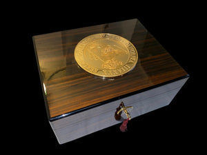 "NFL Super Bowl Winner Jamal Lewis's signed Governor Arnold Schwarzenegger ""38th Governor Seal Humidor"" by Daniel Marshall"