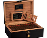 FACTORY FLOOR SALE- AS IS- AMBIENTE BY DANIEL MARSHALL 125 HUMIDOR IN BLACK MATTE PRIVATE STOCK HUMIDOR WITH LIFT OUT TRAY