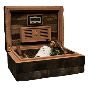 "1962 ""50 Year Old Oak Whiskey Stave"" Humidor by Daniel Marshall, Limited Editions."