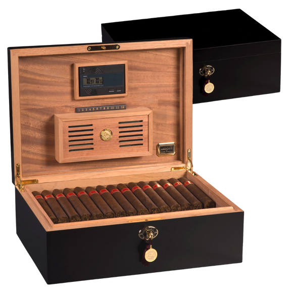 Cash for Clunker Trade in for a AUTOGRAPHED AMBIENTE BY DANIEL MARSHALL 125 HUMIDOR IN BLACK MATTE WITH LIFT OUT TRAY