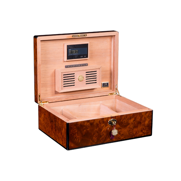 DANIEL MARSHALL 100 HUMIDOR IN PRECIOUS BURL PRIVATE STOCK HUMIDOR