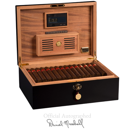 AUTOGRAPHED AMBIENTE BY DANIEL MARSHALL 125 HUMIDOR IN BLACK MATTE