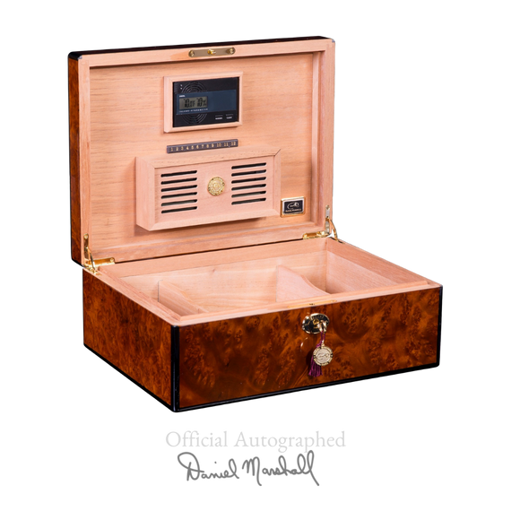 AUTOGRAPHED DANIEL MARSHALL 125 HUMIDOR BURL WITH LIFT OUT TRAY INSTALLED