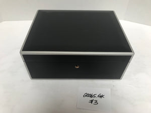 FACTORY FLOOR SALE ITEM #3 AMBIENTE 65 HUMIDOR IN BLACK MATTE PRIVATE STOCK HUMIDOR WITH SILVER EDGES