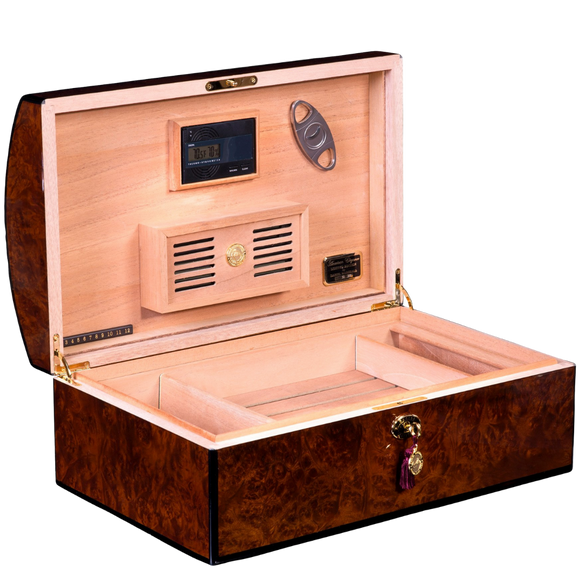 DANIEL MARSHALL LIMITED EDITION 150 HUMIDOR  TREASURE CHEST IN BURL PRIVATE STOCK