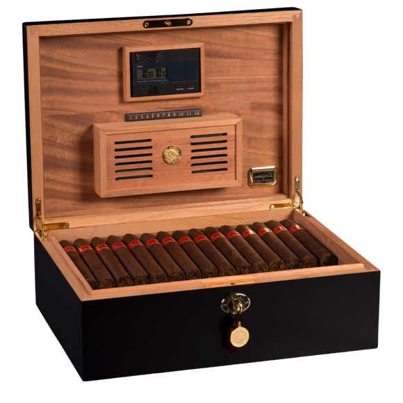 AMBIENTE BY DANIEL MARSHALL 125 HUMIDOR IN BLACK MATTE PRIVATE STOCK HUMIDOR WITH LIFT OUT TRAY