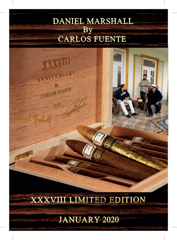 DM 38TH XXXVIII ANNIVERSARY CIGARS BY CARLOS FUENTE IN MACASSAR EBONY DESK TRAVEL HUMIDOR
