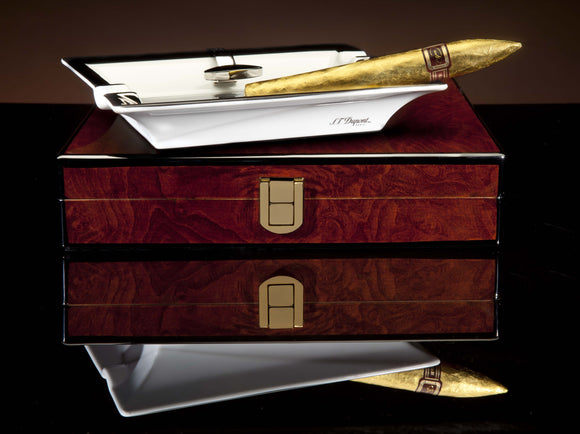DM 24kt Red Label Golden Torpedo set of 5 in Precious Burl Desk-Travel Humidor