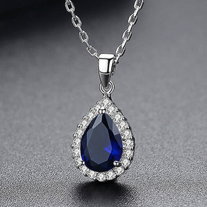 Simulated Gemstones Halo Teardrop Necklace - GRACE BOUTIQUE UK women jewellery necklace earring bracelet ring broach scarf wrap shawl accessories