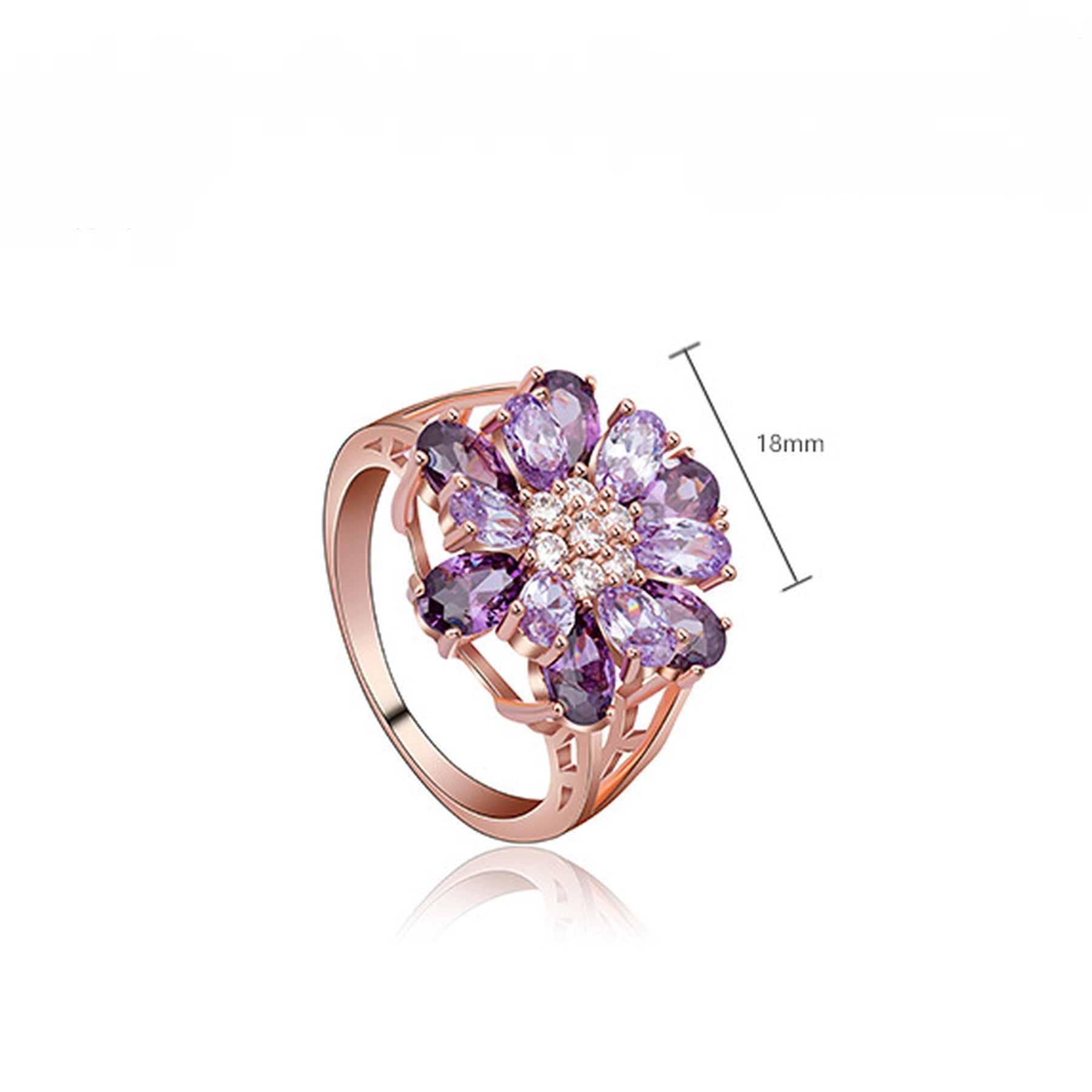 Simulated Amethyst Flower Ring - GRACE BOUTIQUE UK women jewellery necklace earring bracelet ring broach scarf wrap shawl accessories