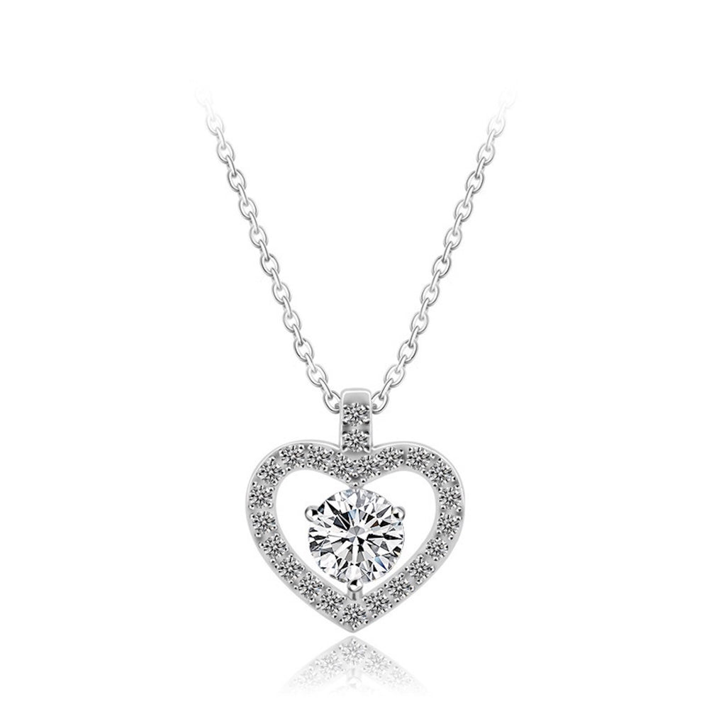 Pave Heart Brilliant Cut Pendant Necklace - GRACE BOUTIQUE UK women jewellery necklace earring bracelet ring broach scarf wrap shawl accessories