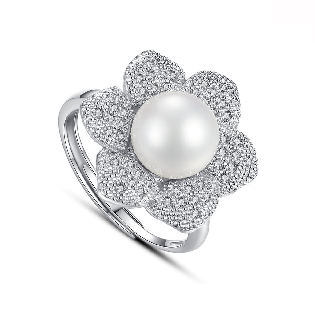 Flower Pearl Mini Cocktail Ring - GRACE BOUTIQUE UK women jewellery necklace earring bracelet ring broach scarf wrap shawl accessories