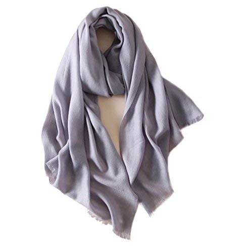 Women Extra Fine Wool Scarf (Light Grey) - GRACE BOUTIQUE UK women jewellery necklace earring bracelet ring broach scarf wrap shawl accessories