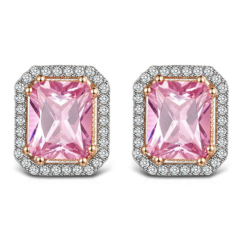 Simulated Pink Diamond Radiant Cut Earrings - GRACE BOUTIQUE UK women jewellery necklace earring bracelet ring broach scarf wrap shawl accessories