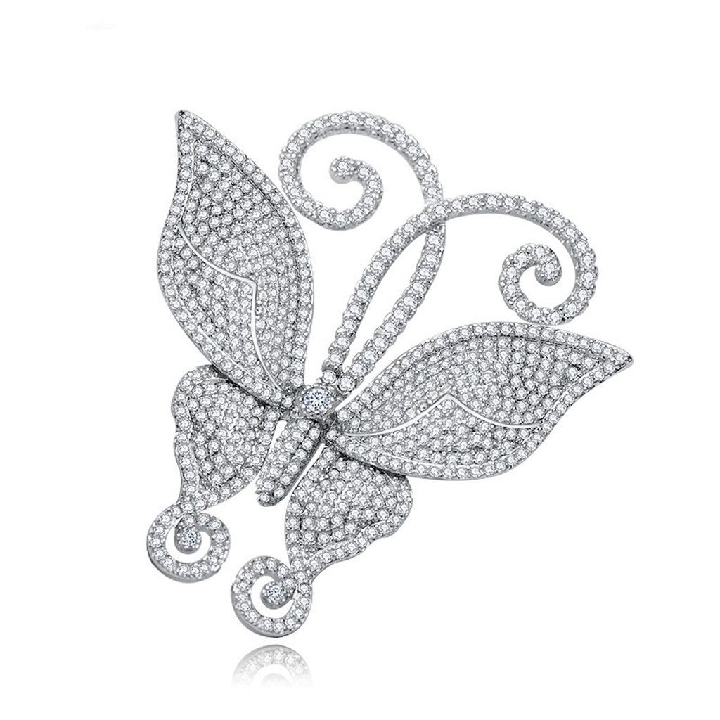 Pave AAA Zircon Butterfly Brooch - GRACE BOUTIQUE UK women jewellery necklace earring bracelet ring broach scarf wrap shawl accessories