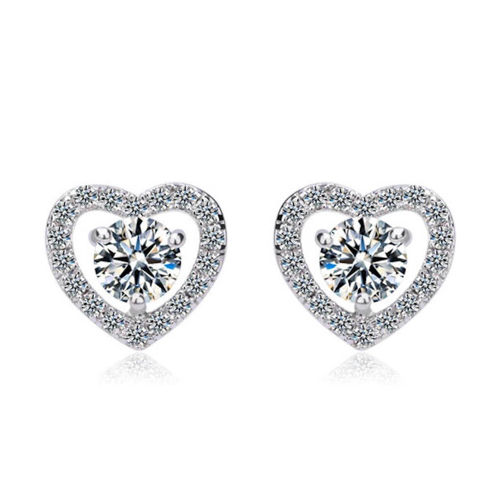 Pave Heart Brilliant Cut Stud Earrings - GRACE BOUTIQUE UK women jewellery necklace earring bracelet ring broach scarf wrap shawl accessories