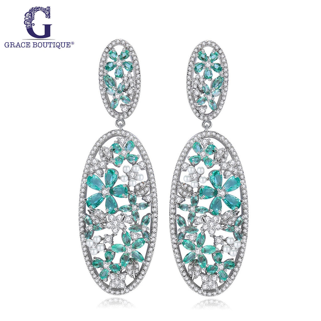 4ct tw Mixed Cut Floral Drop Earrings - GRACE BOUTIQUE UK women jewellery necklace earring bracelet ring broach scarf wrap shawl accessories