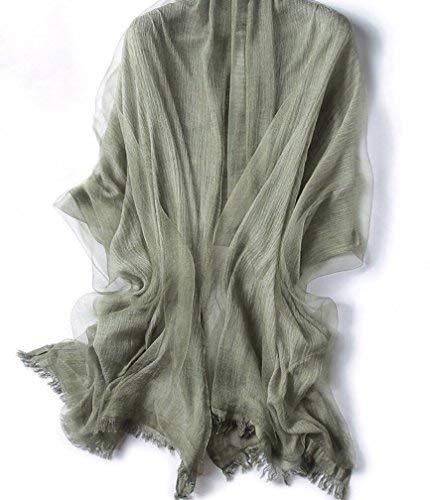 Women Silk layer with Natural Linen Shawl Scarf (Sage Green) - GRACE BOUTIQUE UK women jewellery necklace earring bracelet ring broach scarf wrap shawl accessories