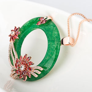 Vintage Jade Circle Flower Cluster Zircon Necklace - GRACE BOUTIQUE UK women jewellery necklace earring bracelet ring broach scarf wrap shawl accessories