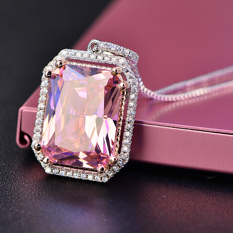 Simulated Pink Diamond Radiant Cut Necklace - GRACE BOUTIQUE UK women jewellery necklace earring bracelet ring broach scarf wrap shawl accessories