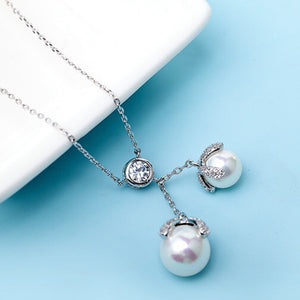 Zircon Solitaire Twin Pearls Drop Pendant Necklace - GRACE BOUTIQUE UK women jewellery necklace earring bracelet ring broach scarf wrap shawl accessories