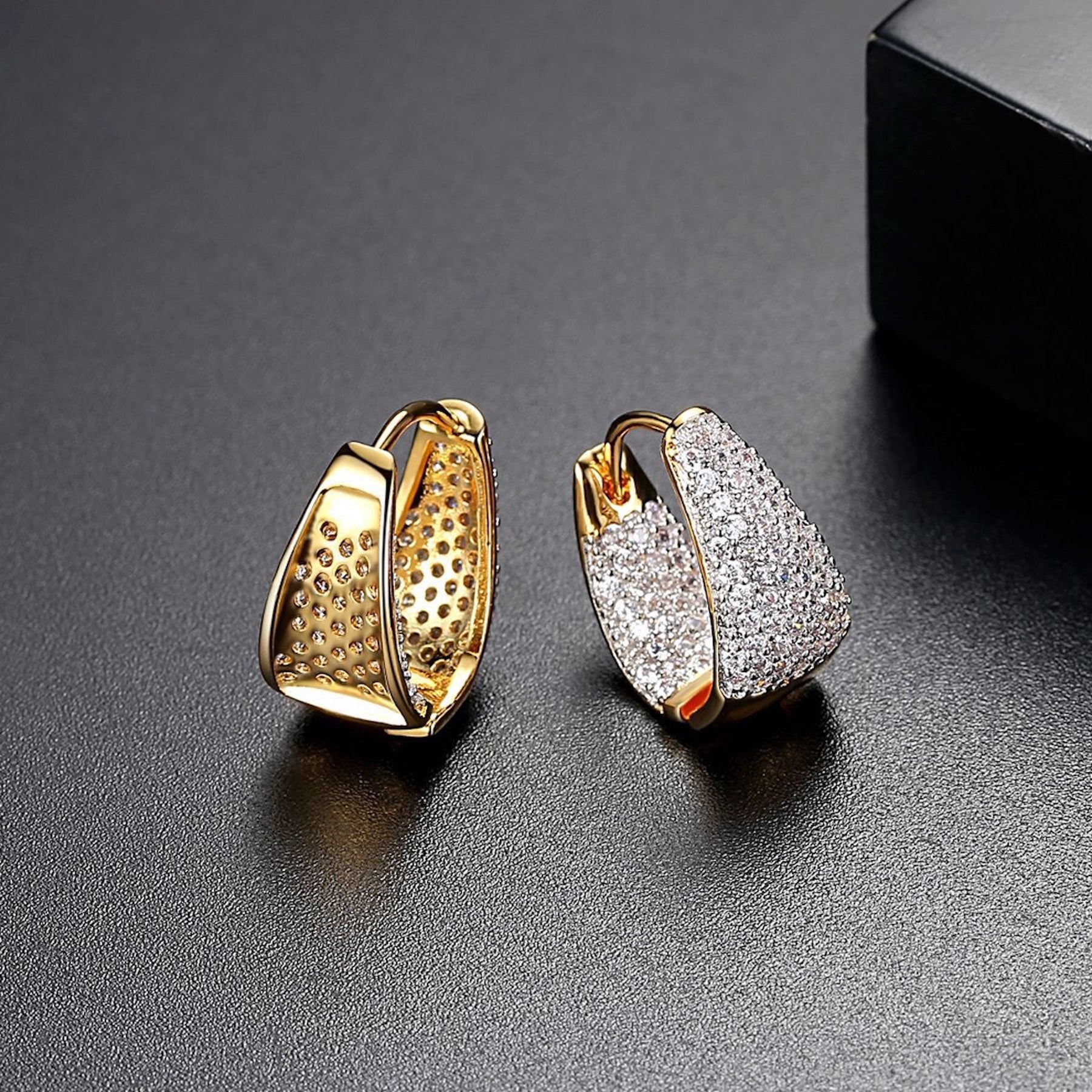 18K Gold Plated Pave Cluster Hoop Earrings - GRACE BOUTIQUE UK women jewellery necklace earring bracelet ring broach scarf wrap shawl accessories
