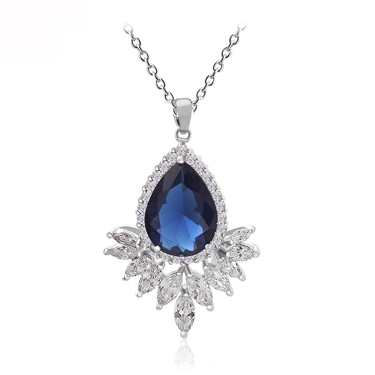 Simulated Sapphire Teardrop Necklace - GRACE BOUTIQUE UK women jewellery necklace earring bracelet ring broach scarf wrap shawl accessories