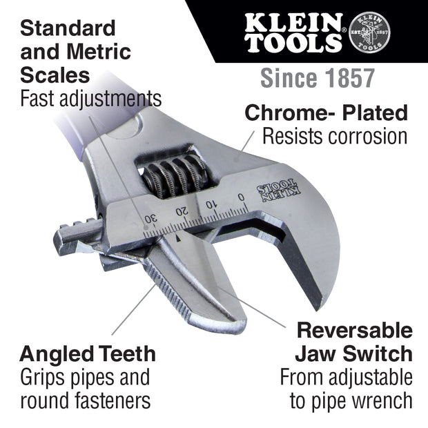 Klein Tools D86930 Reversible Jaw/Adjustable Pipe Wrench, 10""
