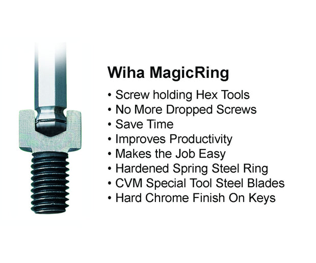 Wiha Tools 66992 MagicRing Ball End Hex L-Key Set In Holders, Inch and Metric, 22 Piece