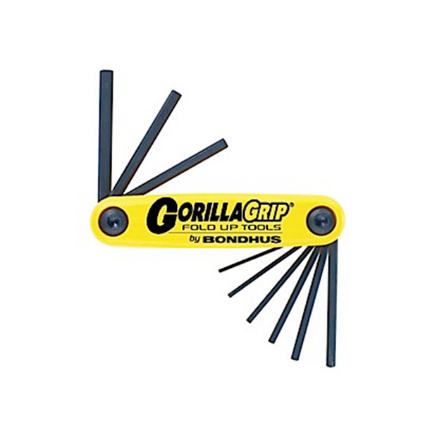 "Bondhus 12591 GorillaGrip Set of 9 0.50 - 3/16"" Hex Fold-up Tool"