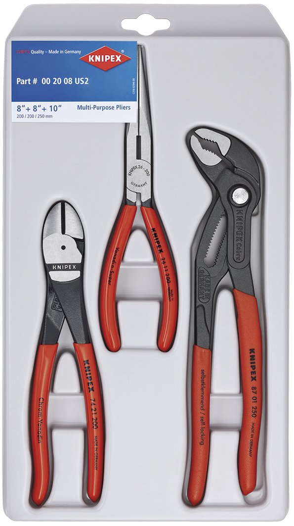 Knipex 00 20 08 US2 Long Nose, Diagonal Cutter, and Cobra Pliers 3-Piece Tool Set