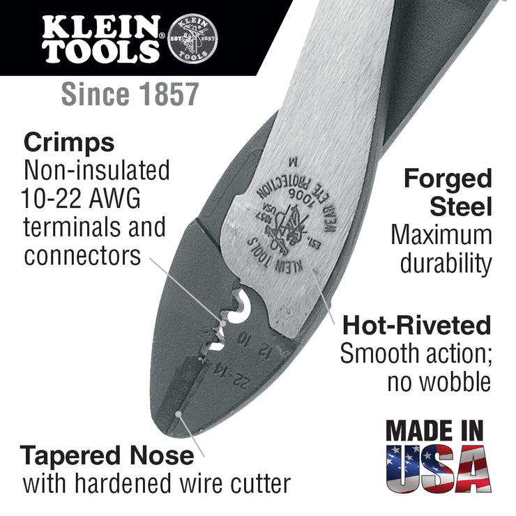 Klein Tools 1006 Crimping/Cutting Tool for Non-Insulated Terminals