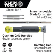 Klein Tools 32581 4-in-1 Precision Electronics Screwdriver with Rotating Cap