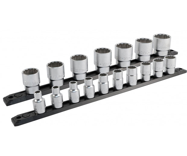 Wiha Tools 33890 1/2 Inch Drive 12 Point Socket Set 5/16 to 1-1/4-Inch with Ratchet and Extensions 21-Piece