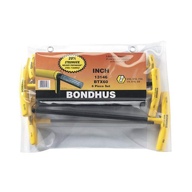 Bondhus 13146 Ball End SAE T-Handle Set, 6 Pc.