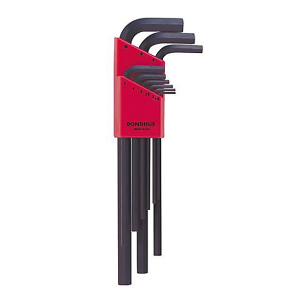 Bondhus 12199 Hex Tip Key L-wrench Set with ProGuard Finish, 1.5mm - 10mm, 9 Piece
