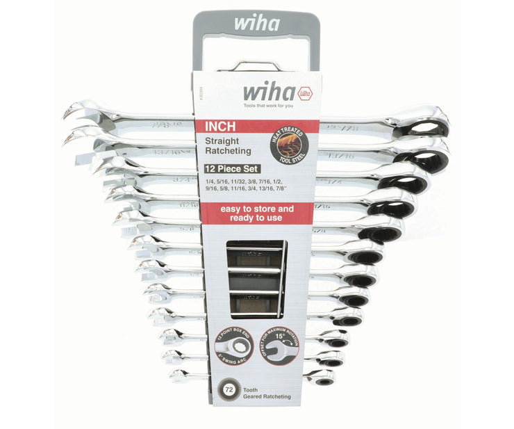 Wiha Tools 30394 Combination Inch Ratchet Wrenches, 12 Pc. Set