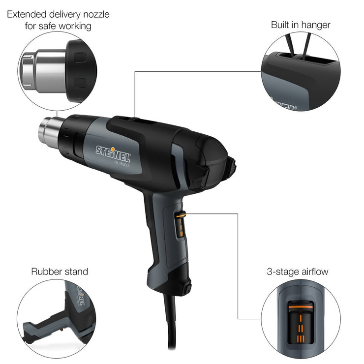 Steinel HL 1820 S Multi-Purpose Heat Gun, 1400 W, Hot Air Gun for Shrink Wrapping, Soldering Sleeves, Variable Temperature and Airflow